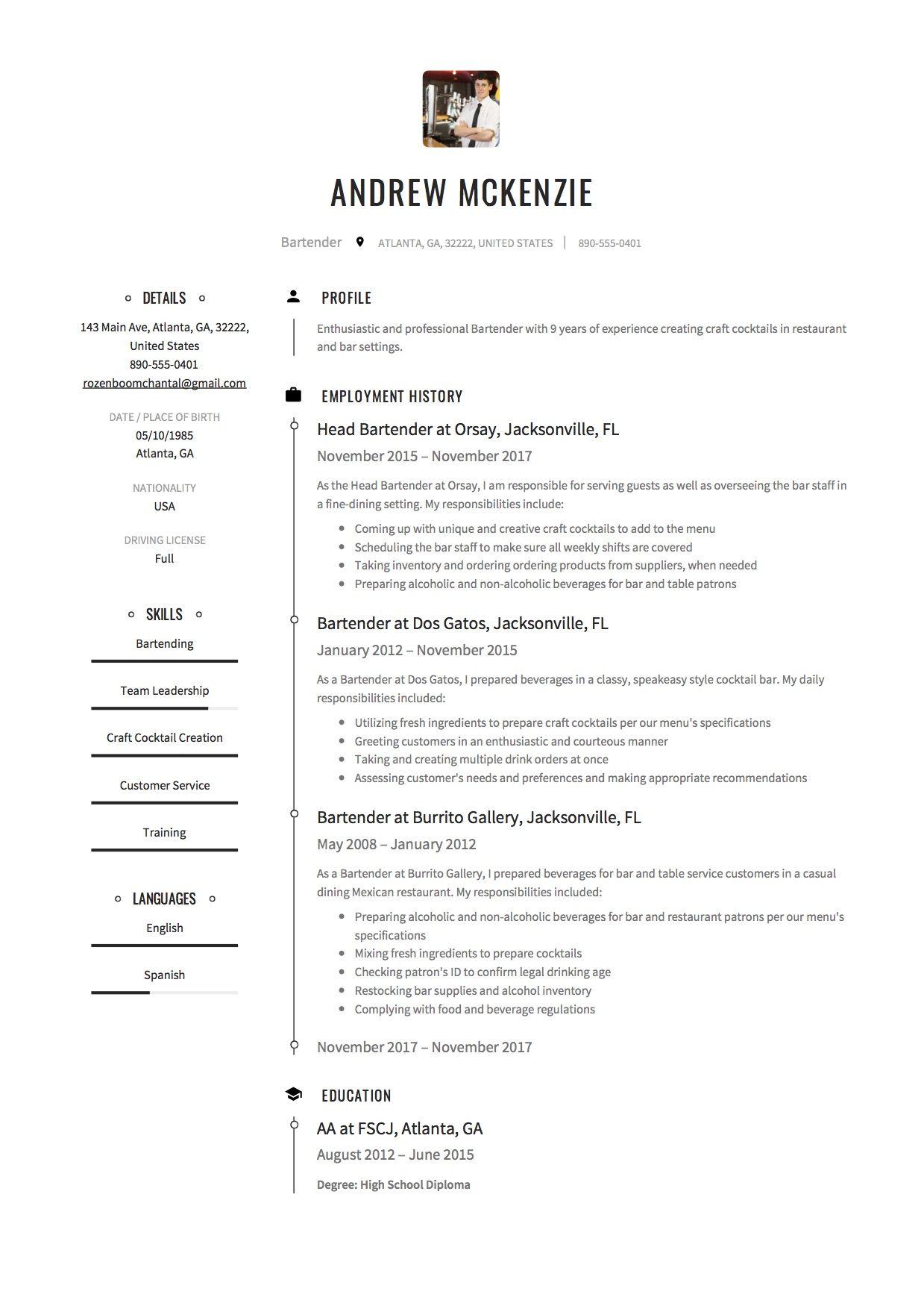 Free Bartender Resume Sample Template Example Cv