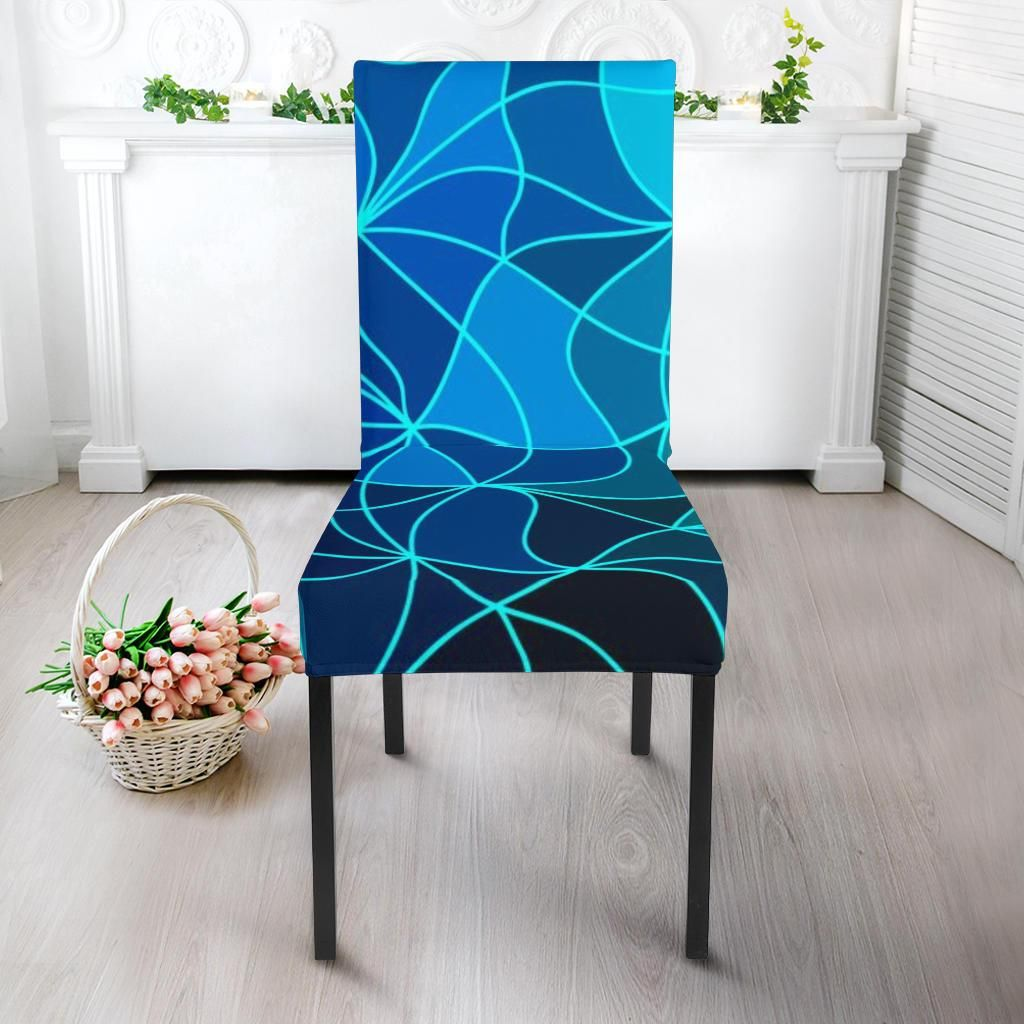 Gradient blue geometric chair covers Slip Cover