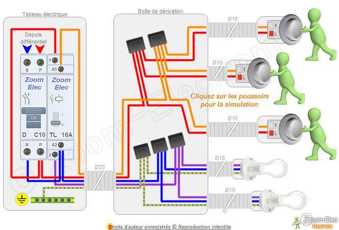 Montage telerupteur electricite pinterest - Branchement d un telerupteur ...