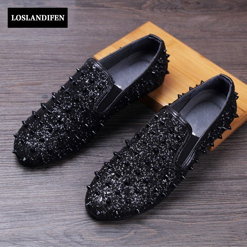 c0c6001b670a Free Shipping  Buy Best New Fashion Mens Spike Rivet Shiny Sequins ...