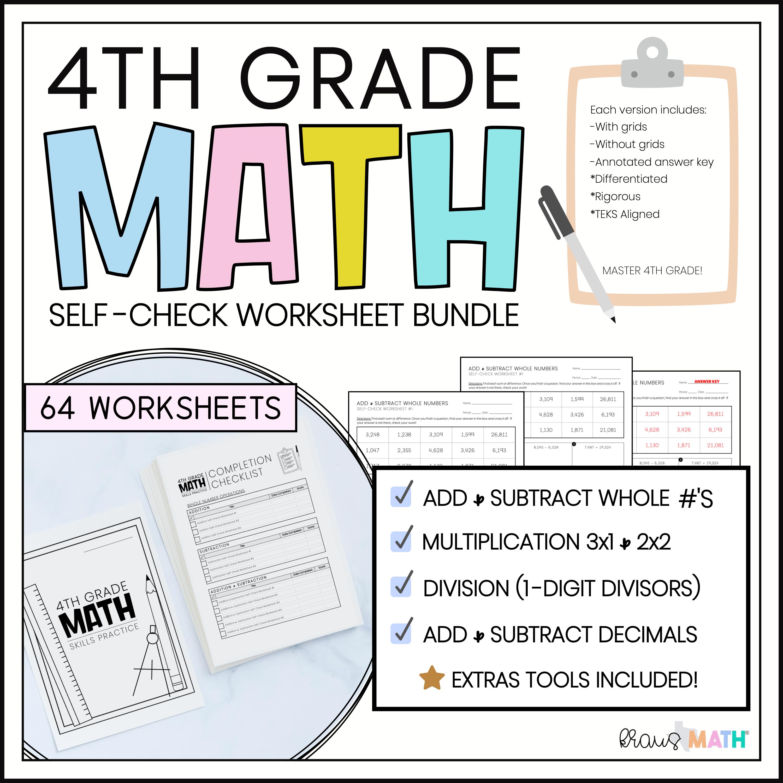 4th Grade Math Self Check Worksheets Full Year Bundle Kraus Math 4th Grade Math Math Packets Multi Step Word Problems [ 3000 x 3000 Pixel ]