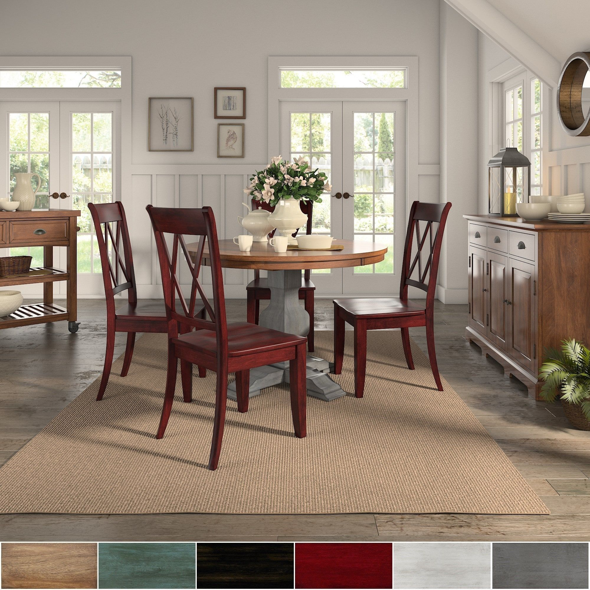 Eleanor Antique Grey Round Top Solid Wood Dining Set X Back By Inspire Q Clic
