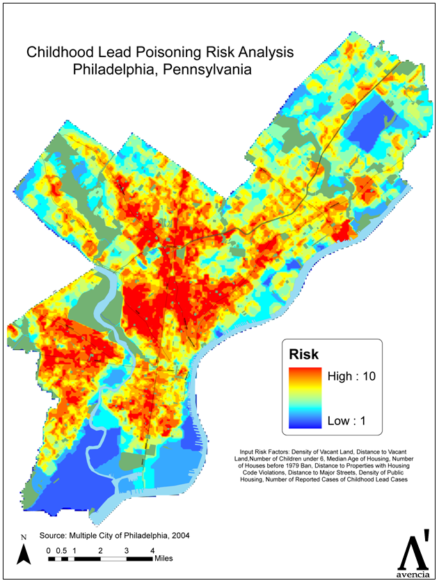 Childhood Lead Poisoning Risk Analysis  Philadelphia Pa Map