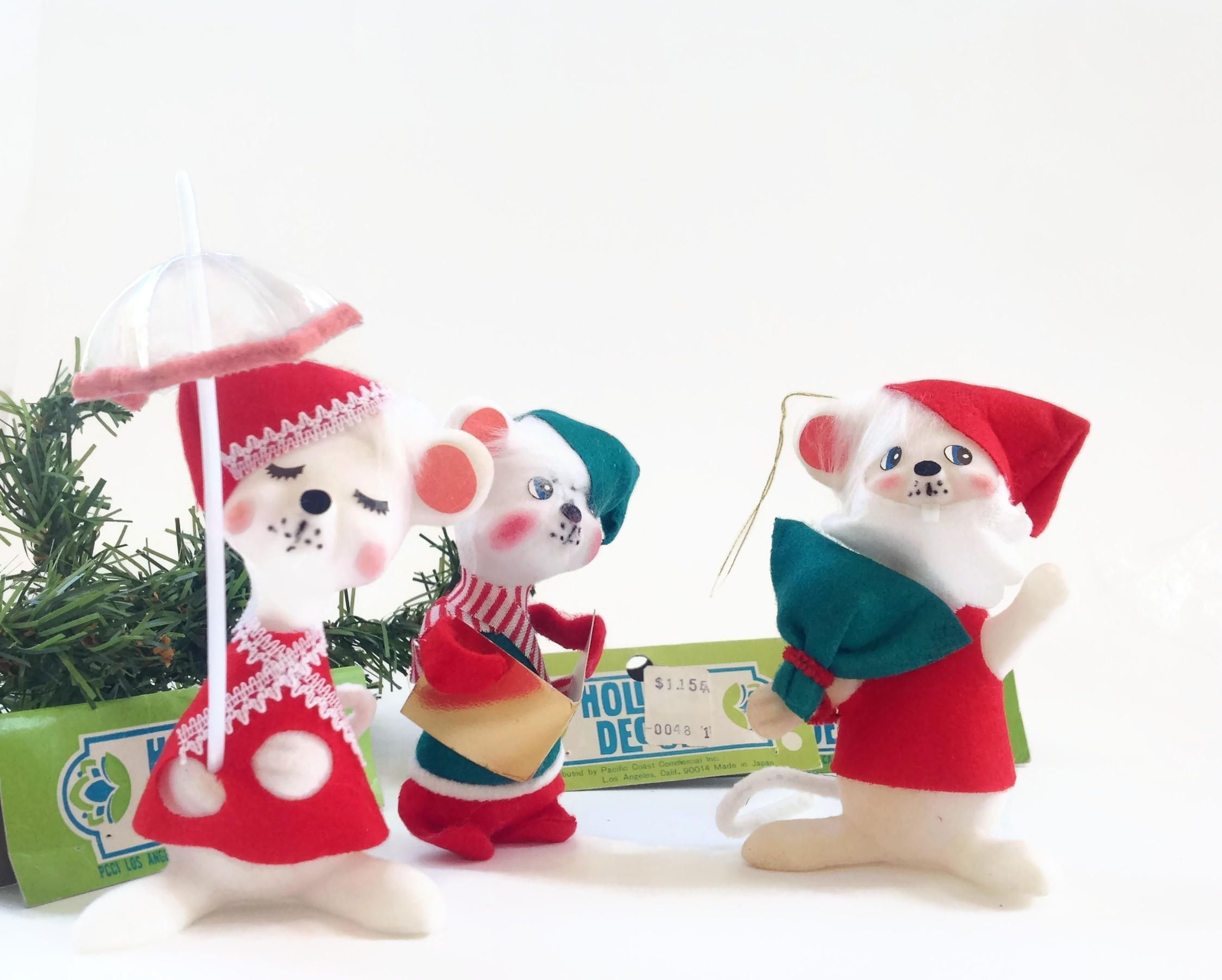 vintage christmas decorations christmas mice by vintagemodernhip on etsy