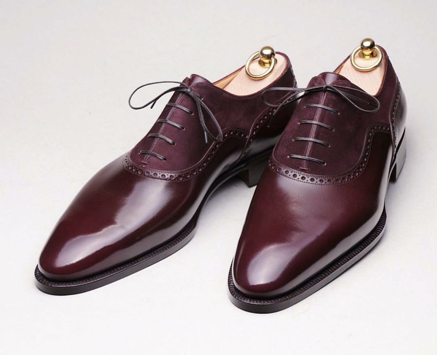 9ba2a59b95 Stefano Bemer calf leather and suede oxford in burgundy.