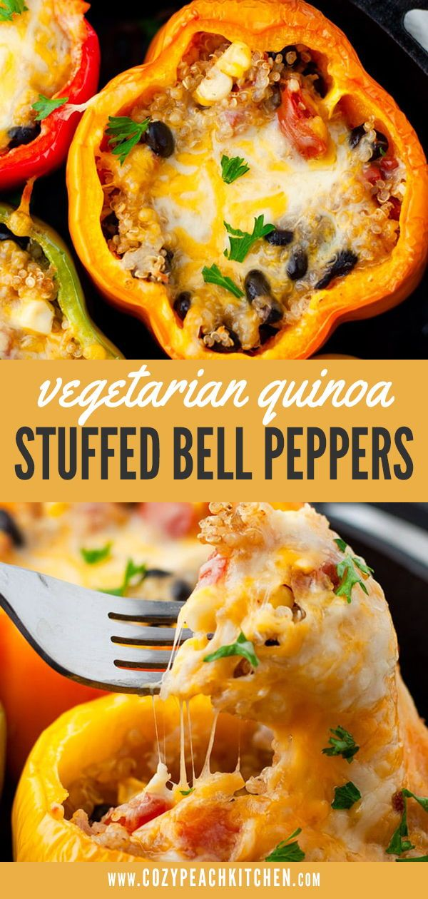 Vegetarian Quinoa Stuffed Bell Peppers Recipe Stuffed Peppers Easy Bean Recipes Vegetarian