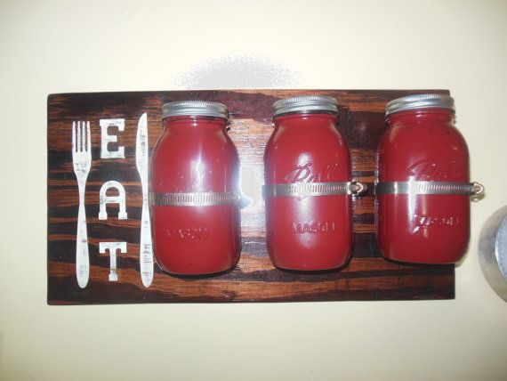 Large Mason Jar Kitchen Utensil Organizer 3 by Sunnifinds on Etsy