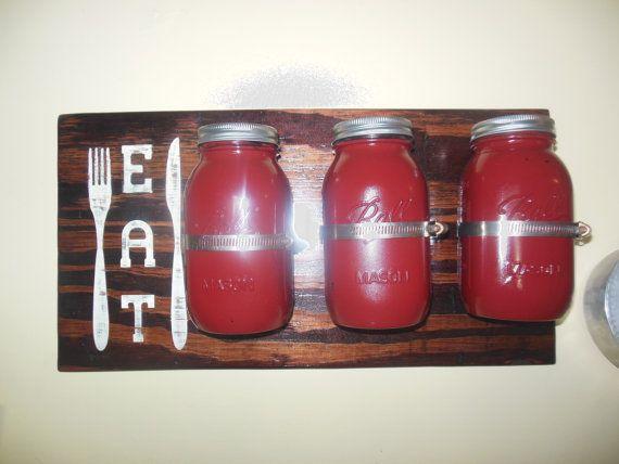 Large Mason Jar Kitchen Utensil Organizer 3 by Sunnifinds on Etsy