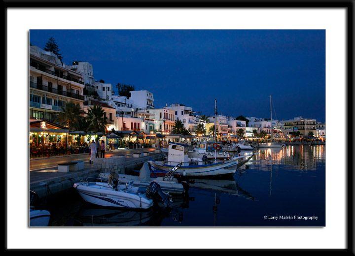 $150. Harbor and Boats at Dusk, Naxos, Greece.