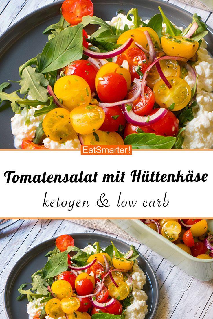 Tomatensalat auf körnigem Frischkäse #creamcheeserecipes