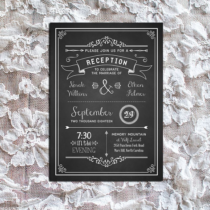Printable Black Diy Reception Only Invitation Template  Reception