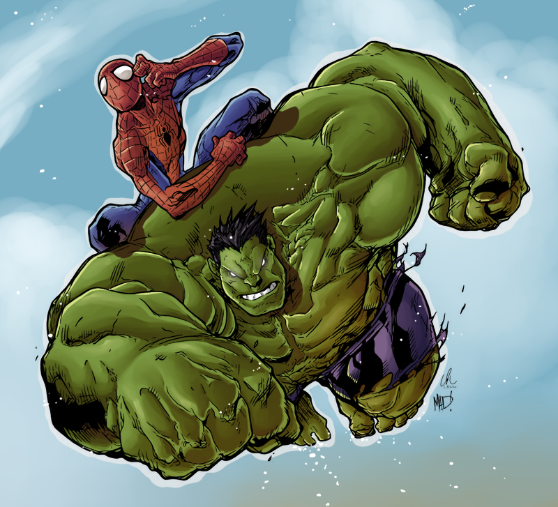 hulk and spiderman by hitotsumamideviantartcom on deviantart