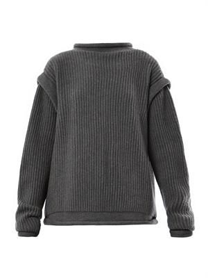 Christopher Kane_Ribbed-knit cashmere buckle cardigan