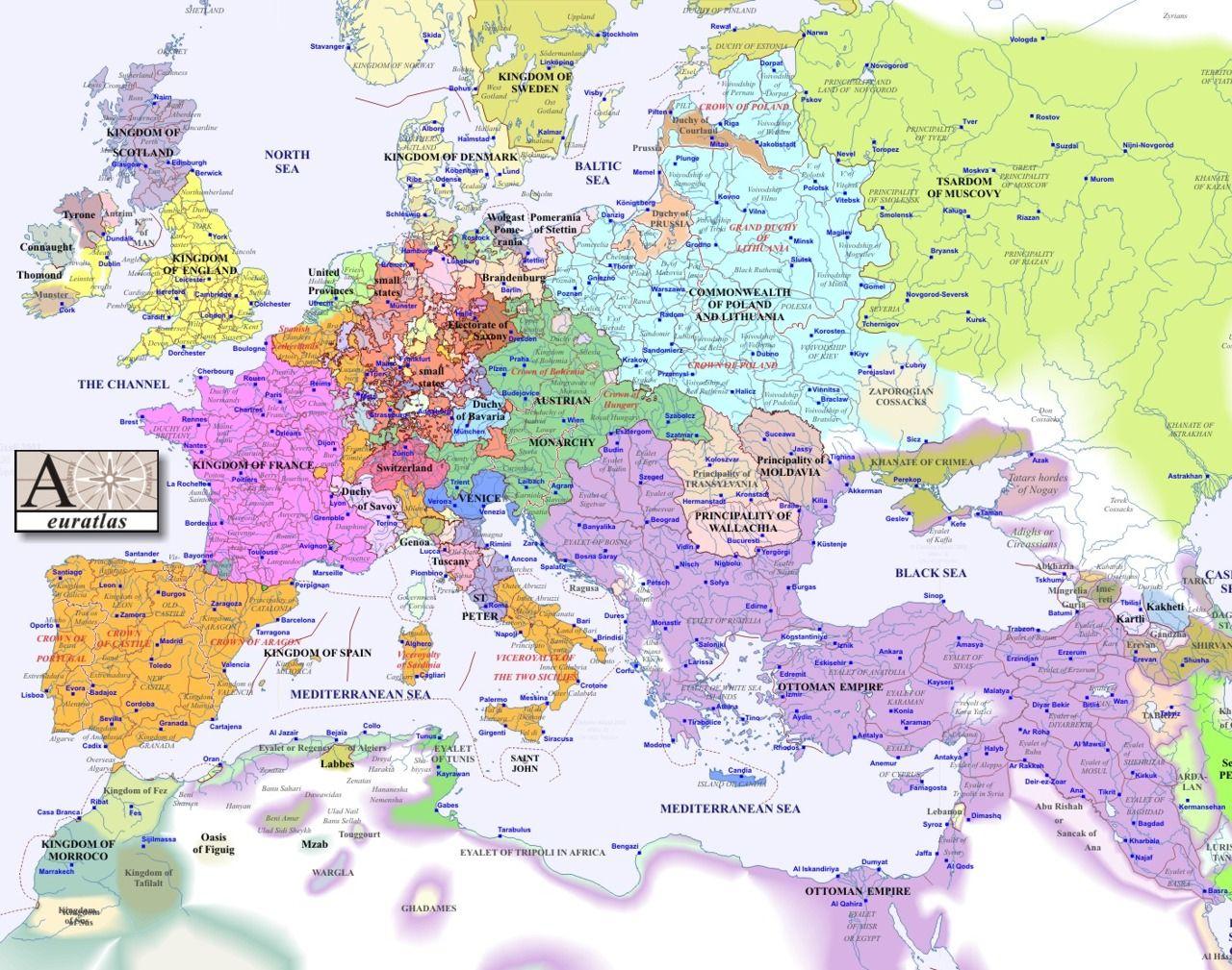 8 Europe Map 1600 Jpg 1280 1009 Year 1600 Ad Europe Map