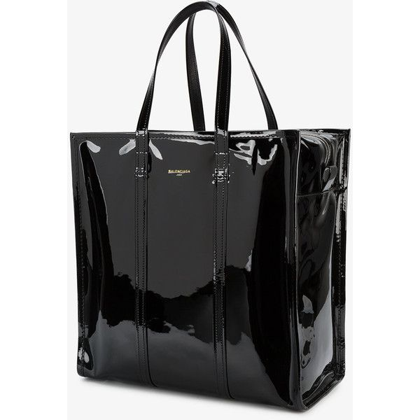 Balenciaga Medium Black Patent Bazar Shopper Bag ($1,550) ❤ liked ...