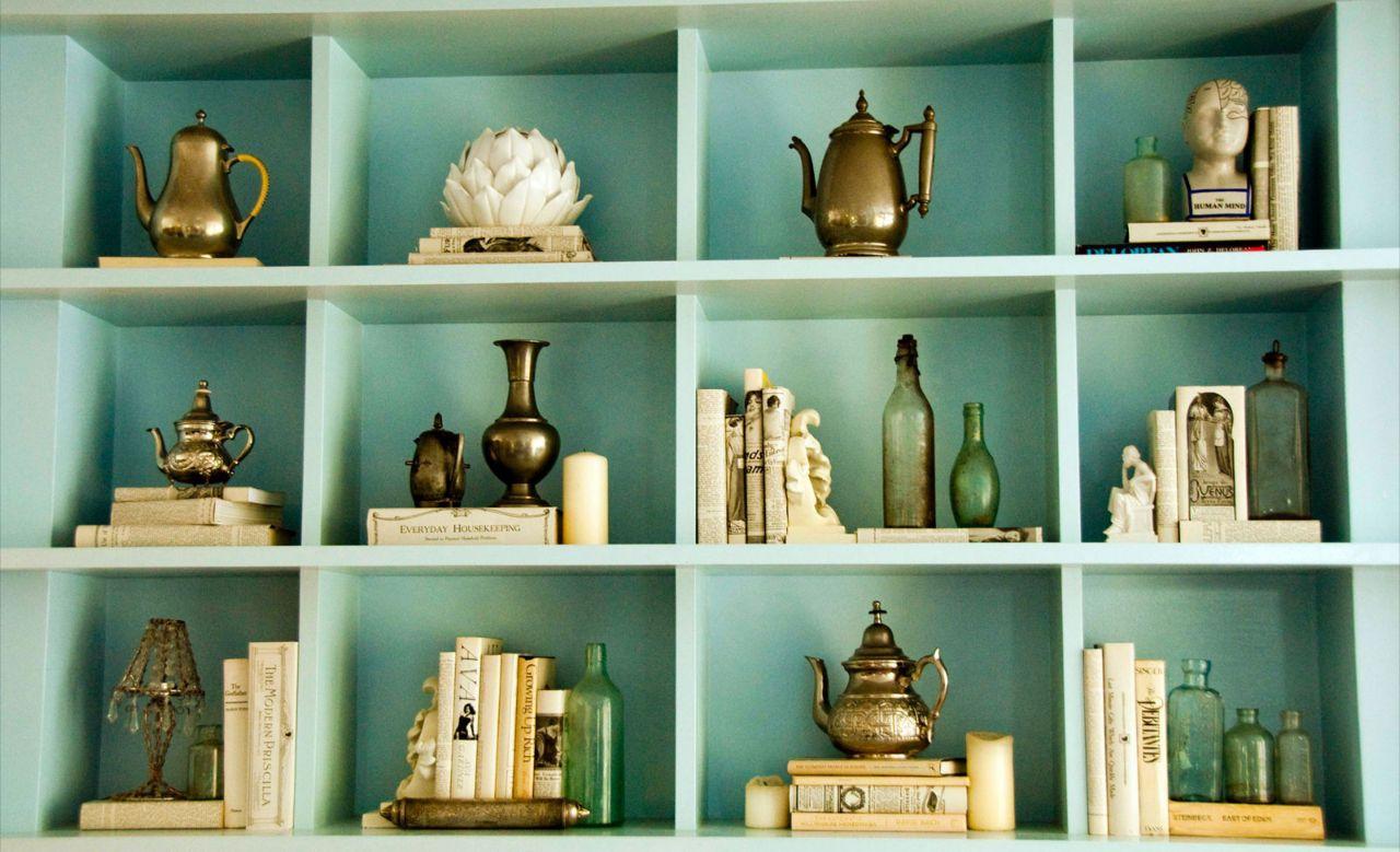 Bookshelves Teapots Mint Green Walls Decor Bookcase Styling