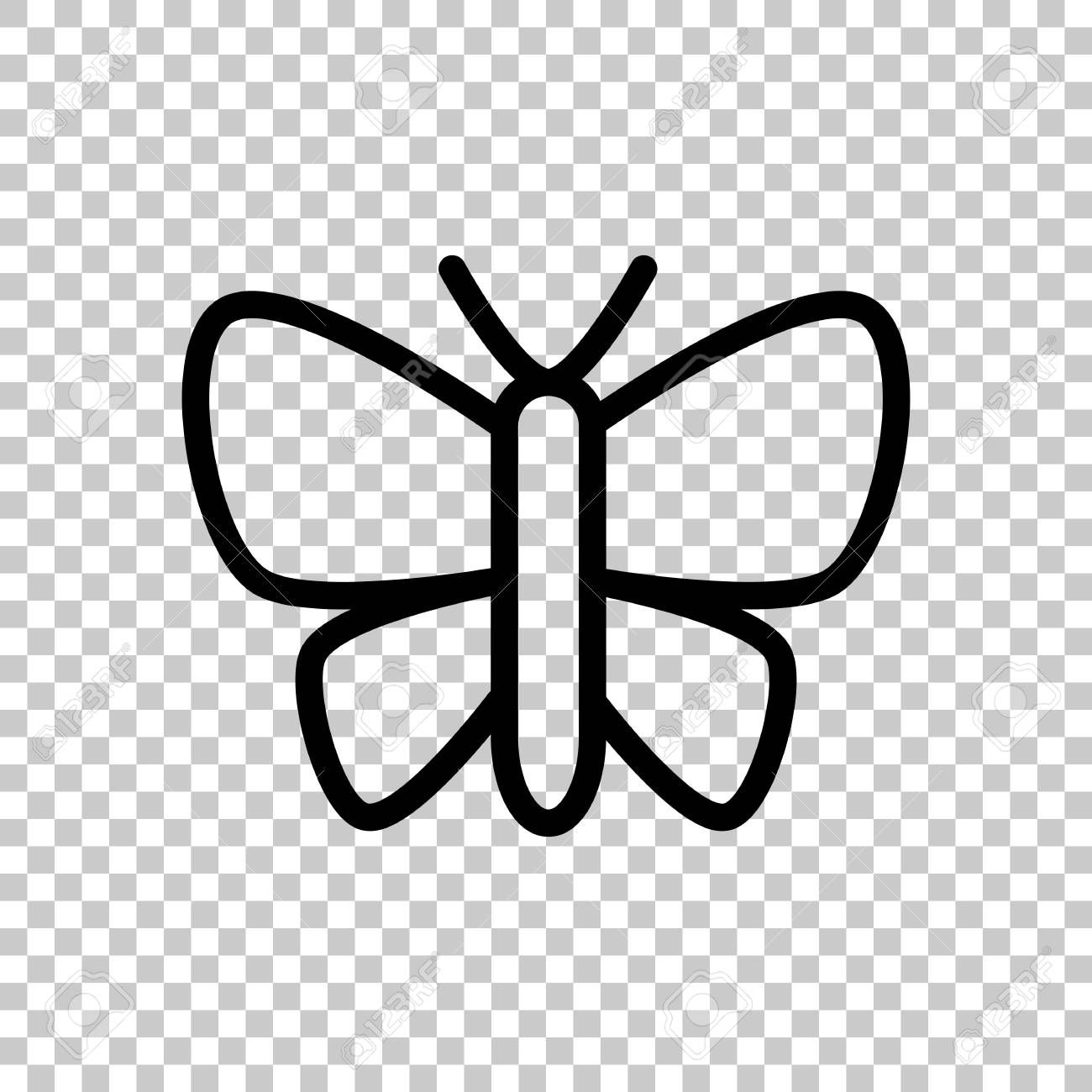Simple butterfly logo, linear outline icon. Black symbol