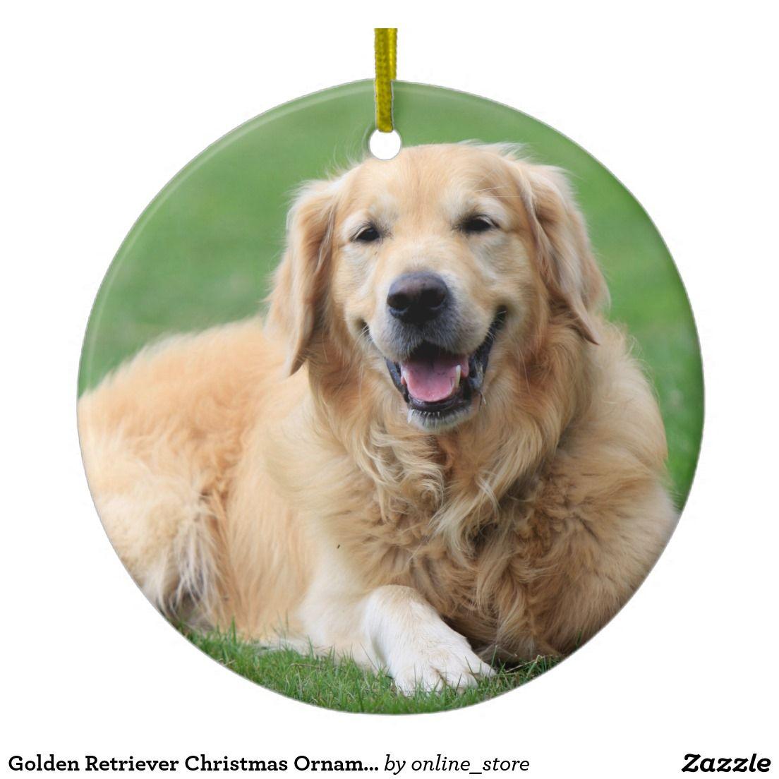 Golden Retriever Christmas Ornament Custom Circle Zazzle Com
