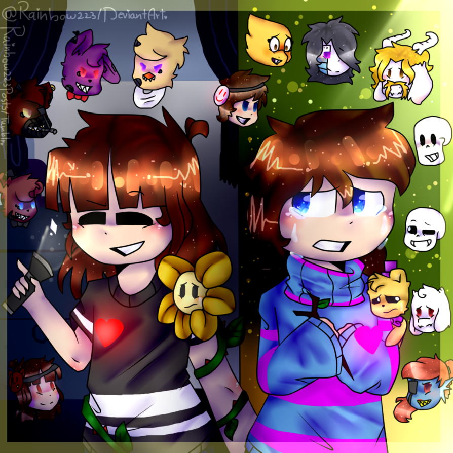Opss Everything Changes Fnaf And Undertale Redraw By Rainbow223 Anime Fnaf Fnaf Indie Game Art