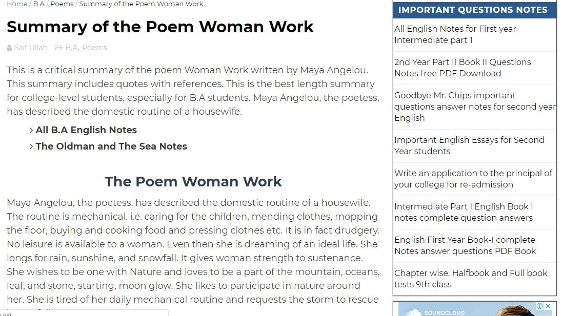 This is a critical summary of the poem Woman Work written by Maya