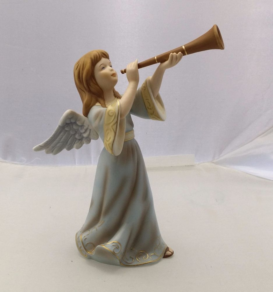 New Original Kaiser Porcelain Painted Angel With Trombone Blue Limited Edition