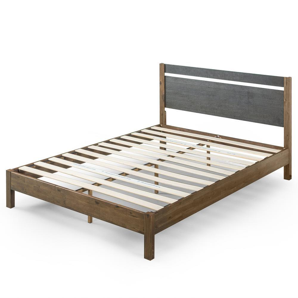 Zinus Stefan 12 In Queen Wood Platform Bed With Headboard Brown