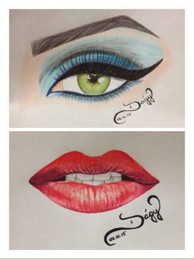 drawing lips eye