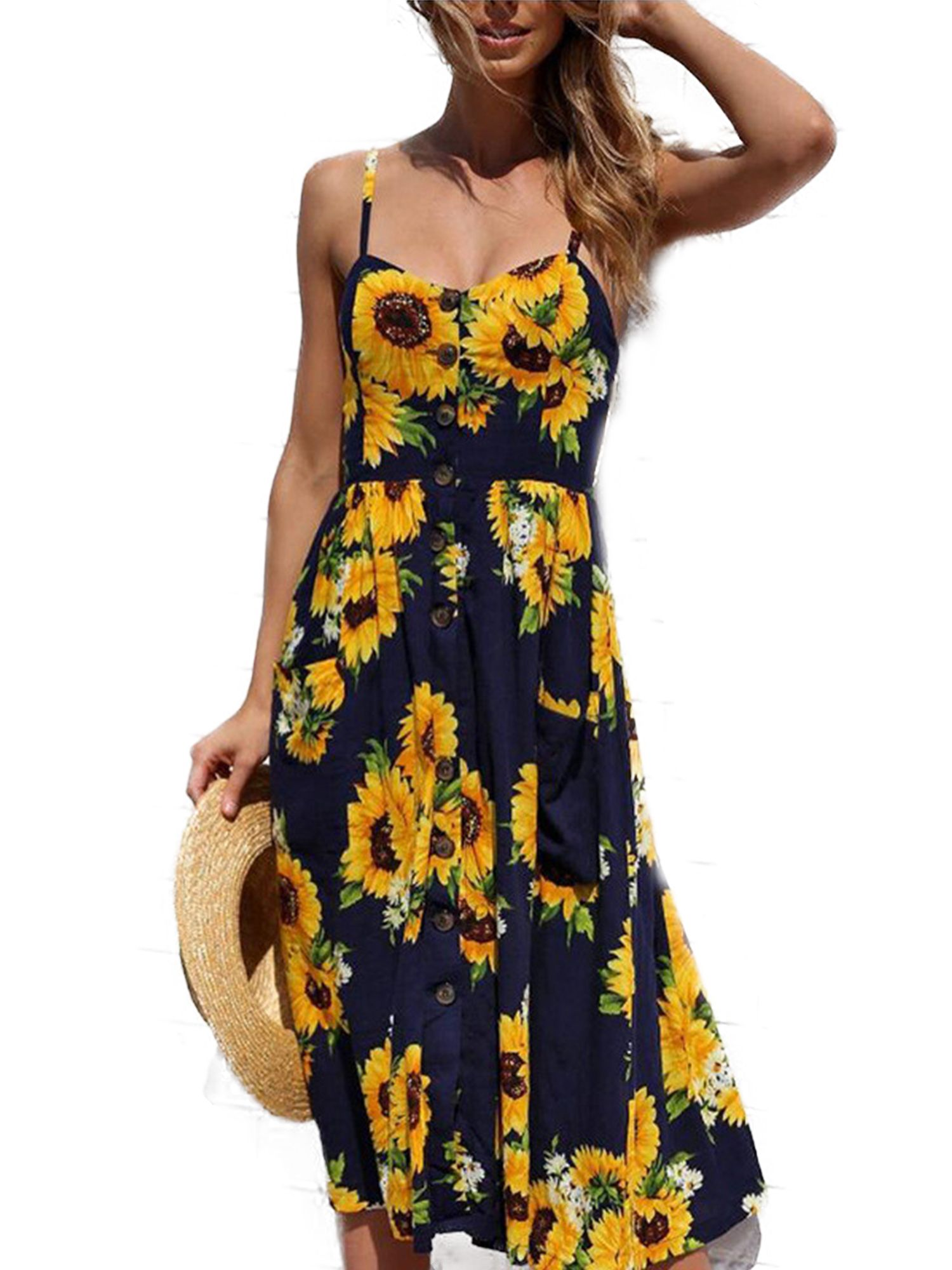 Wodstyle Women S Strappy Floral Summer Beach Party Midi Swing Dress Walmart Com Summer Dresses For Women Midi Swing Dress Backless Mini Dress [ 2000 x 1500 Pixel ]