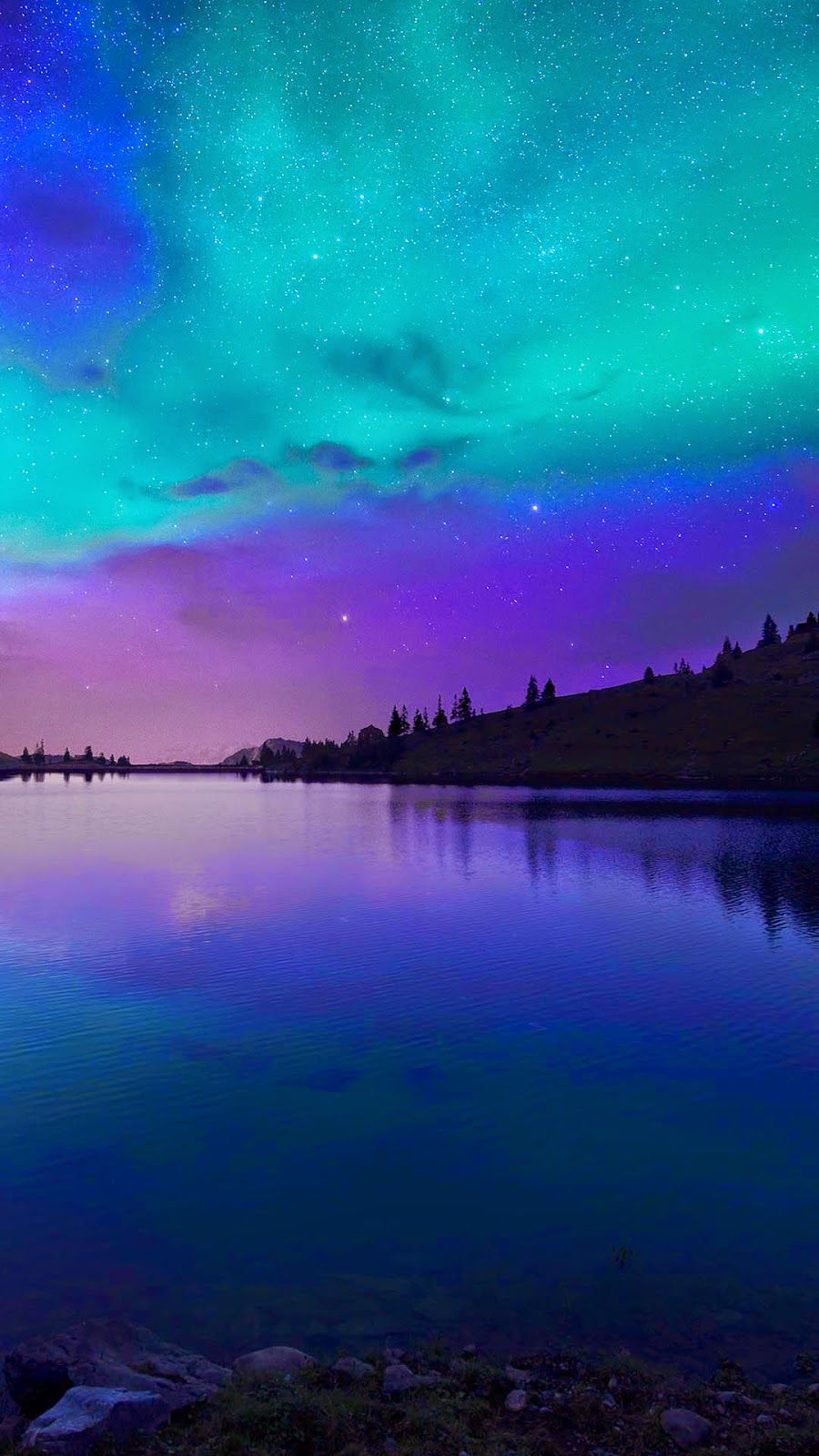 iphone 6, 6 plus wallpaper - night fall at lake aurora | iphone