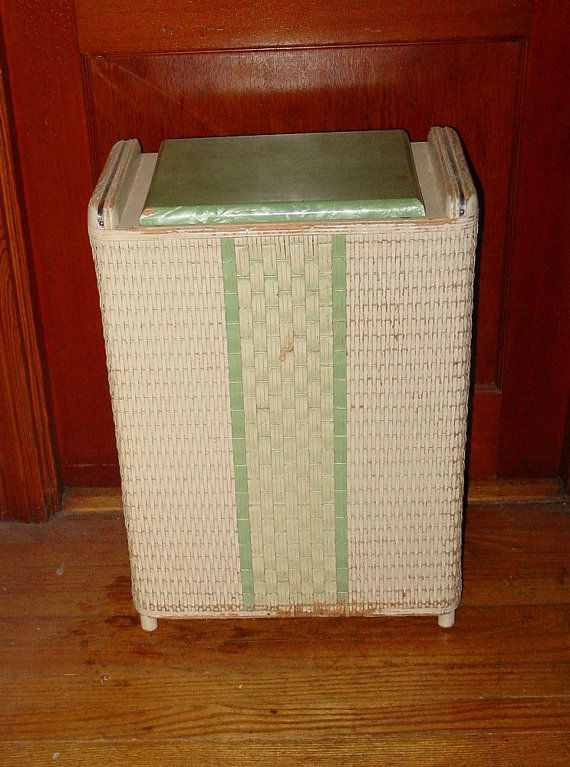 Vintage Wicker Hamper With Marblized Lid Green And White Bathroom