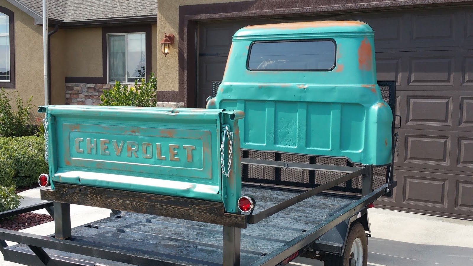 this is an chevrolet apache 1958 pickup truck turned into a queen
