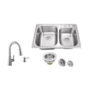 Dropin 33 In4Hole Stainless Steel Kitchen Sink In Brushed Enchanting 4 Hole Kitchen Faucet Design Inspiration