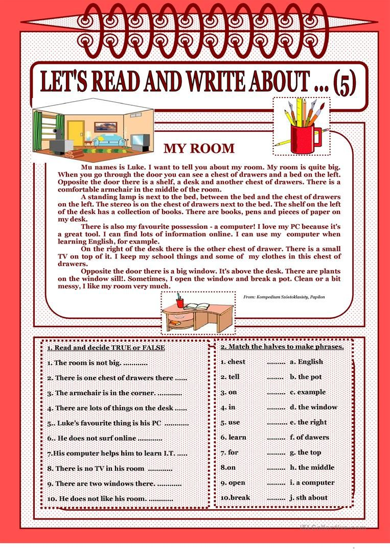 Let S Read And Write About 5 My Room Worksheet Free Esl Printable Worksheets Made By Teachers Reading Writing English Reading Reading Comprehension [ 1079 x 763 Pixel ]