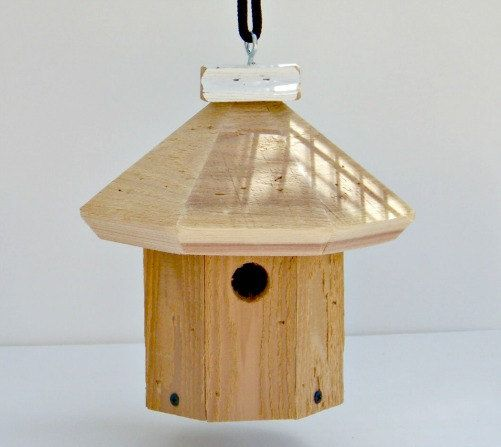 Cedar Hand Crafted Wren House by WildBirdHousePeople on Etsy