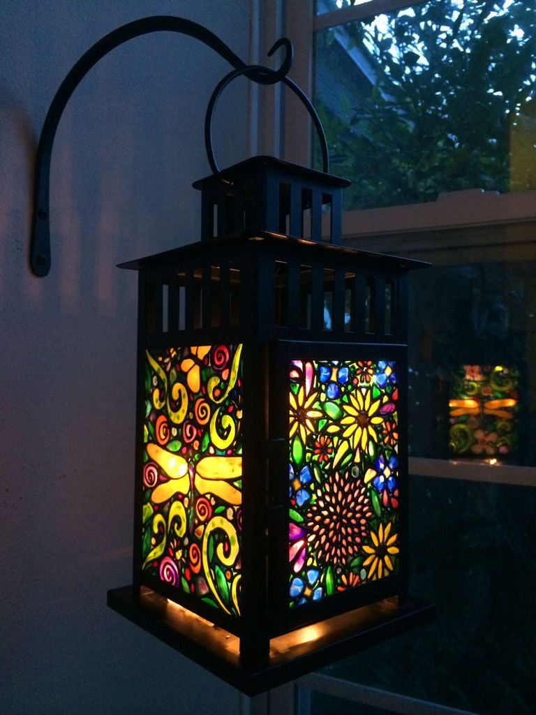 Led Lantern Battery Operated Dragonflies Garden Flowers Tiffany Style