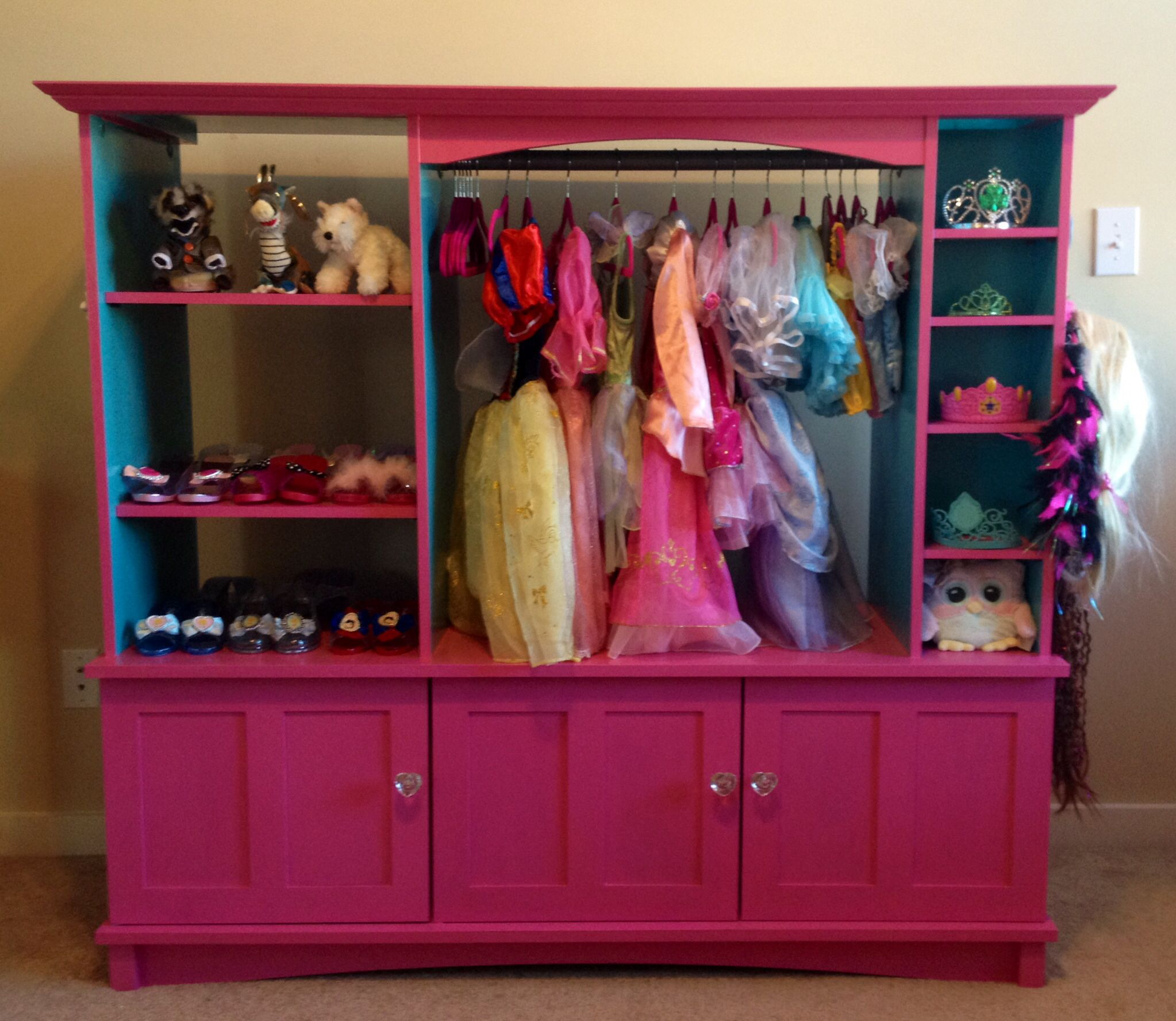 Dress up closet made out of an old entertainment center