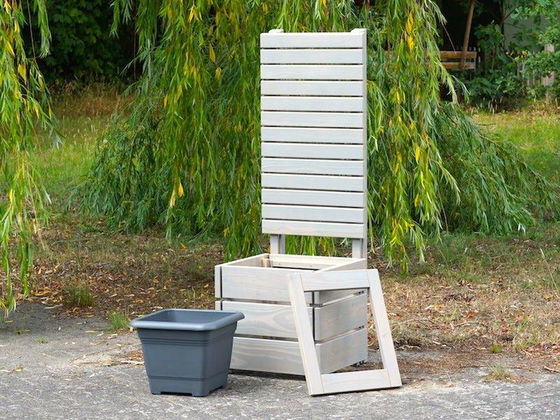 Sichtschutz mit Pflanzsäule Holz M, Transparent Grau