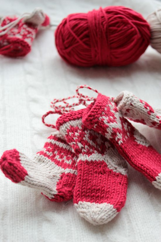 Knitted Mini Stocking Christmas Ornaments.