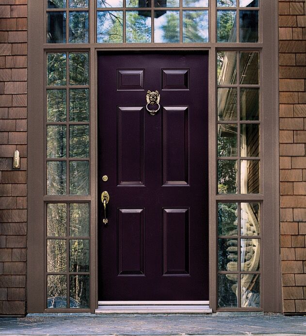 """Purple lotus"" by Benjamin Moore makes a beautiful statement for rustic exterior door."