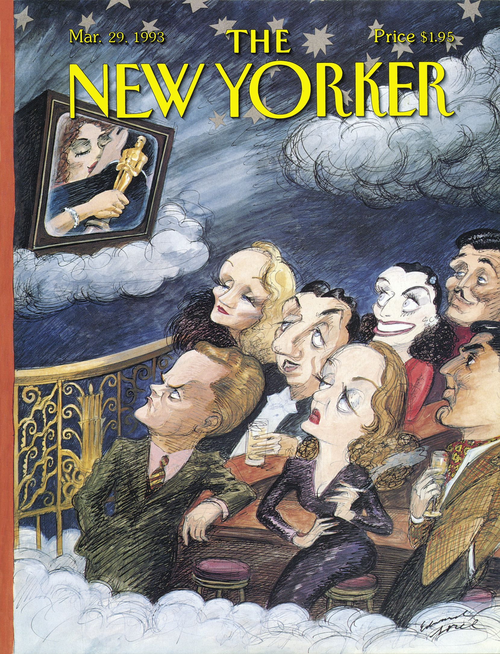 """00ccb8929 The New Yorker - Monday, March 29, 1993 - Issue # 3553 - Vol. 69 - N° 6 -  Cover """"Starry Night"""" by Edward Sorel"""