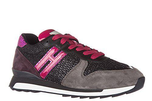 B7480 sneaker donna HOGAN REBEL R182 scarpa bordeaux glitter shoes woman [36.5] jiEdnEm
