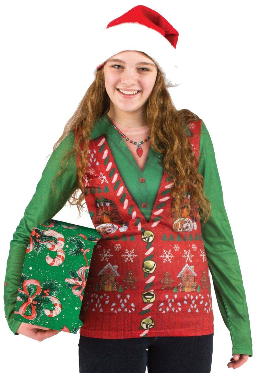 Ladies Ugly Christmas Faux Vest Shirt