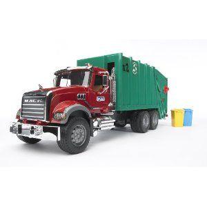 Bruder Toys Mack Granite Garbage Truck Ruby Red Green Garbage Truck Trucks Diesel Trucks