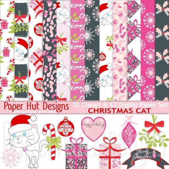 Christmas Cat Digital Papers-Christmas Cat Clipart-Holiday
