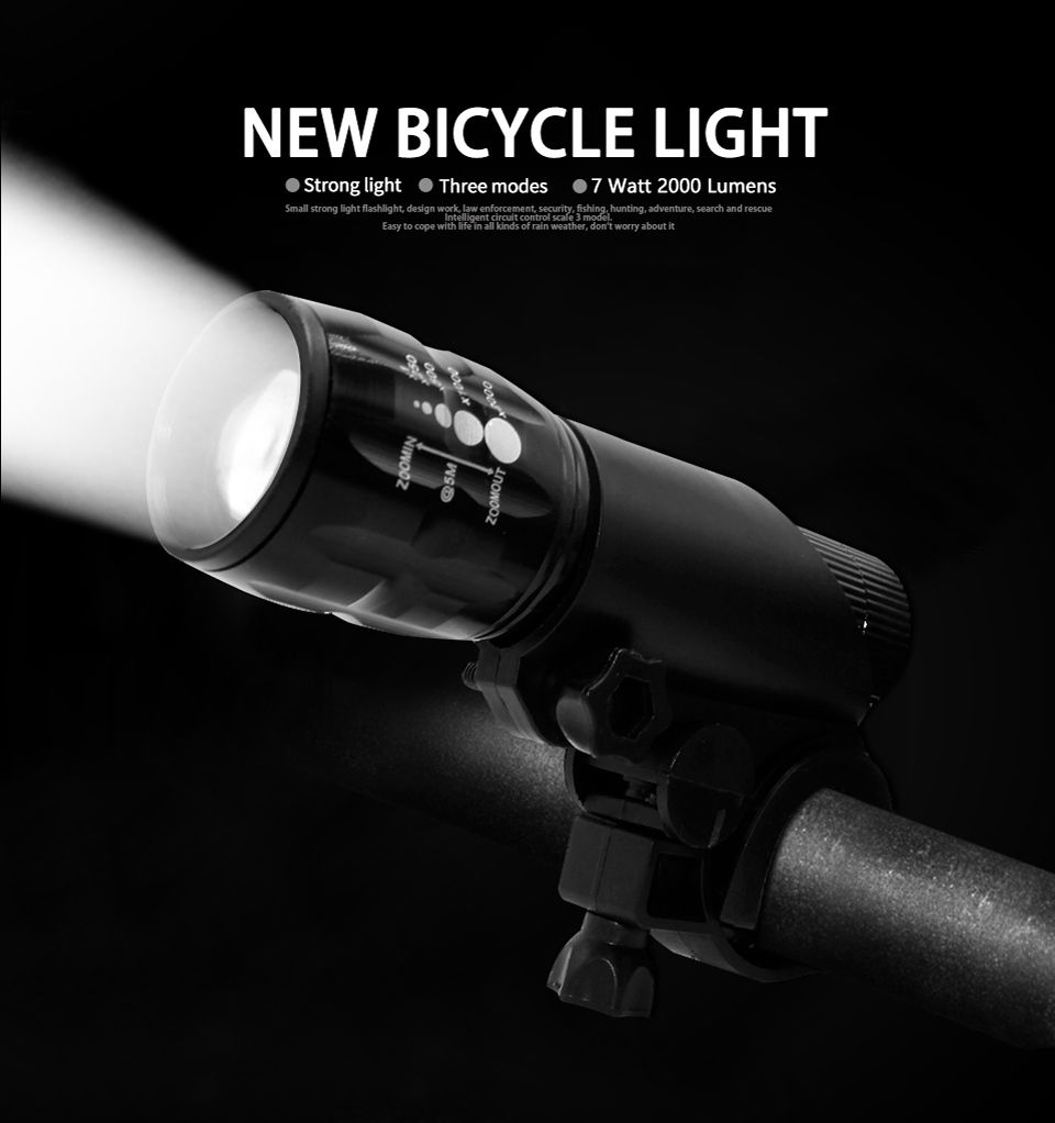 FTW Bicycle Light 7 Watt 2000 Lumens 3 Mode Bike Q5 LED Bike Light