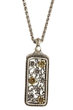 Floral rectangle necklace