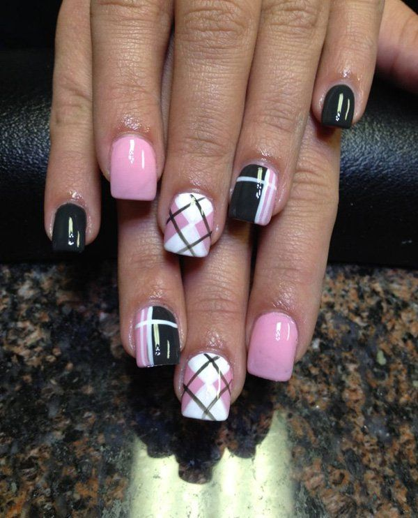 gingham and plaid nail art design
