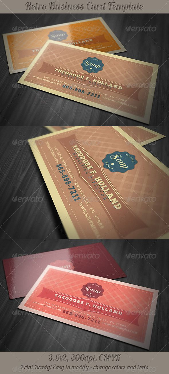 Retro Business Card Template Graphicriveritemretro Business