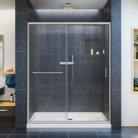 Dreamline Infinity Z Hardware Brushed Nickel Base Color Biscuit 2 Piece Alcove Show Semi Frameless Shower Doors Frameless Sliding Shower Doors Shower Doors