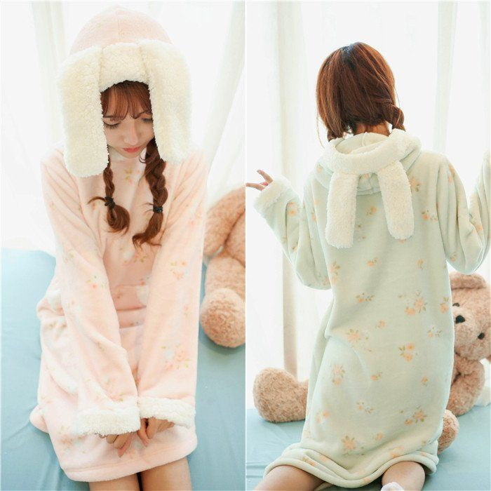 ad622b4d54ec4 Pink Green Kawaii Bunny Fleece Home Wear Pajamas Dress SP164907 -  SpreePicky - 1